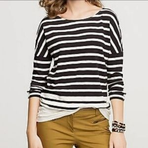 J Crew Long Stripe Navy & Cream Boater Tee